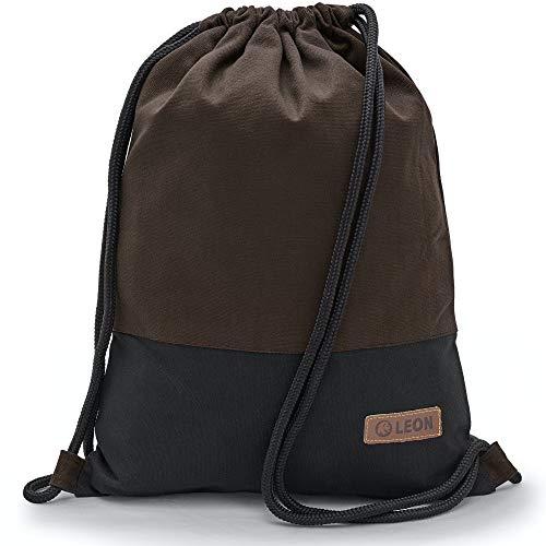Leon By Bers Turnbeutel mit Innentaschen einfarbiges Design Rucksack Beutel Tasche Damen Herren & Teenager Gym Bag Hipster (Braun_schwStoff)