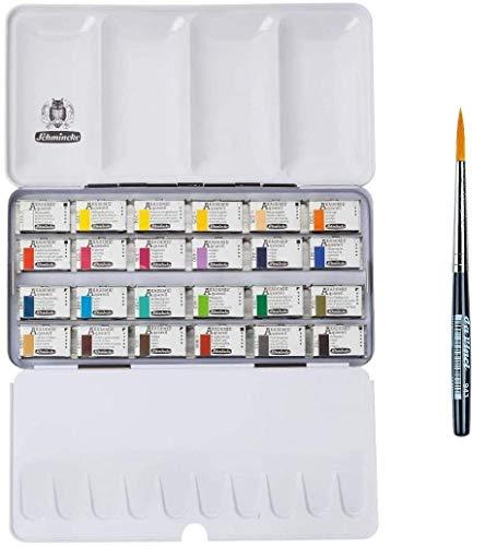 Schmincke Akademie - Caja de Acuarelas (24 recipientes de 1/1 Colores) con Davinci Brush Free, Made in Germany