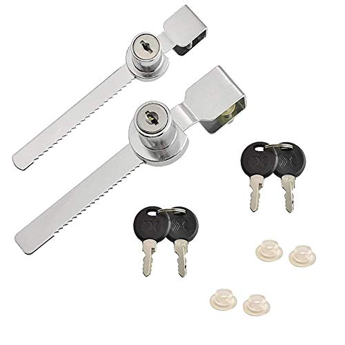 Juego de 2 cerraduras de puerta corredera de cristal con llaves iguales para cajón vitrina DIY jardín herramientas de mano