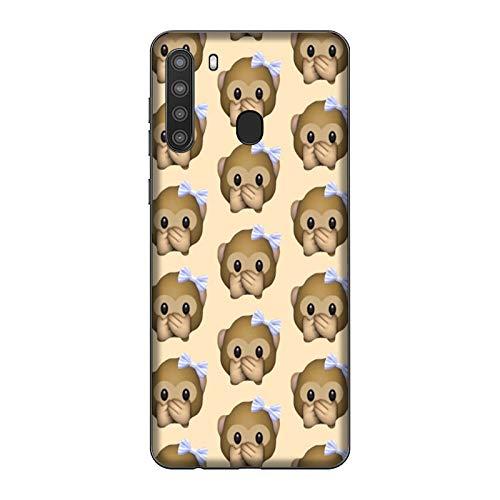 Funda Galaxy A21 Carcasa Compatible para Samsung Galaxy A21 Whatsapp Emoticon de Mono pequeño no Habla/Imprimir también en los Lados/Teléfono Duro A presión Antideslizante Antideslizante Antia