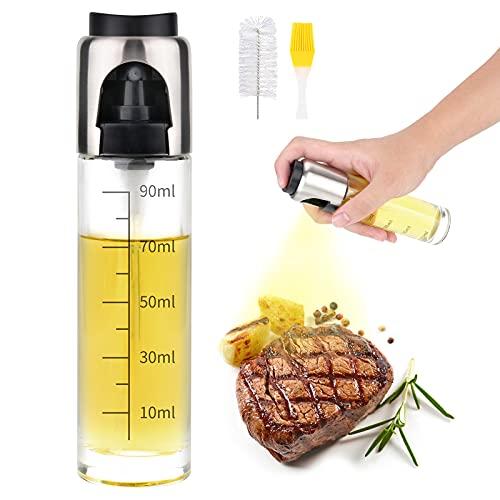 AUCHIKU Pulverizador Aceite, Pulverizador Aceite de Oliva, 100ml Botella de Vidrio y Boquilla de Acero Inoxidable, Cocinar/Ensalada/Hornear Pan/BBQ