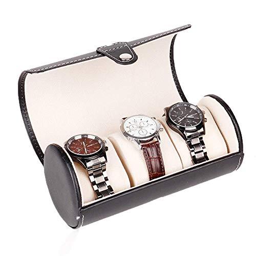 Enrollador de reloj automático, caja de presentación Caja de exhibición de cilindro de cuero de la PU Caja de almacenamiento para organizador de 3 relojes (Color: Negro, Tamaño: Talla única) Pantalla