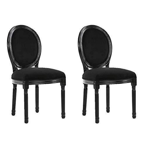 INSIDE Lot de 2 chaises médaillon Versailles Style Louis XVI Velours Noir