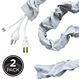 Cordinate, Heather Gray, Fabric Cord Cover 2 Pack, 6 ft, Hides, Lamps, Light Fixtures, and Desks, Cable Management, Easy Installation, 48659