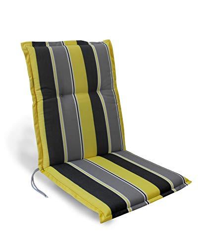 Herlag Florence Polsterauflage Niedriglehner für Gartenstuhl (Farbe grau/gelb gestreift, 100% PU Schaumstoff) P204022-2127
