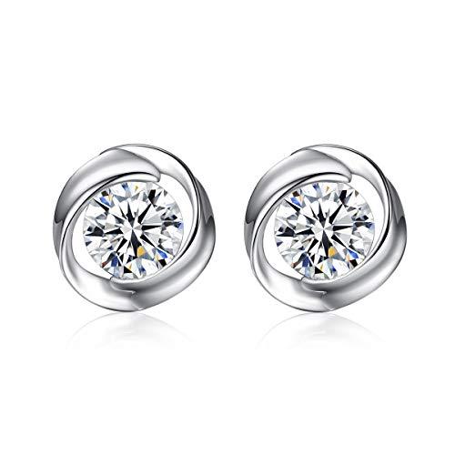 Bo&Pao bloemen oorstekers dames 925 sterling zilver, zirkonia oorbellen met bloemen