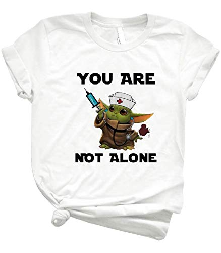 Baby Yôdás You are Not Alone Funny Nurse Shirt – Yôdás Baby Wear Nurse Uniform Hold Néédlés Against Córónávírús Epidemic Handmade Shirt Black