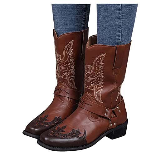 Hbeylia Cowboy Boots for Women Men Vintage Retro Round Toe Leather Wide Mid Calf Western Cowgirls Boots Chunky Block Mid Heels Knight Riding Short Work Boots Halloween Party Dress Boots for Ladies