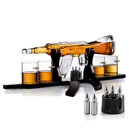 Whiskey Gun Decanter Set + 4 Whisky Bullet Glasses on Gun Shaped Rich Wood Classic Mahogany Base Tray with Bullet Chilling Stones Gift Packaging - for Liquor Scotch Bourbon - Christmas Holiday Gift
