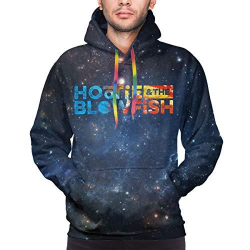 SASJOD Männer Hoodies Mens 3D Print Galaxy Starry Sky Sweatshirt Hootie-and-The-Blowfish-Logo Casual Pullover Hoodies with Pocket