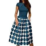 TWIFER A Line Kleid Damen Elegant Wellenpunkt Taschenschärpen Knielanges Splice Casual Kleider