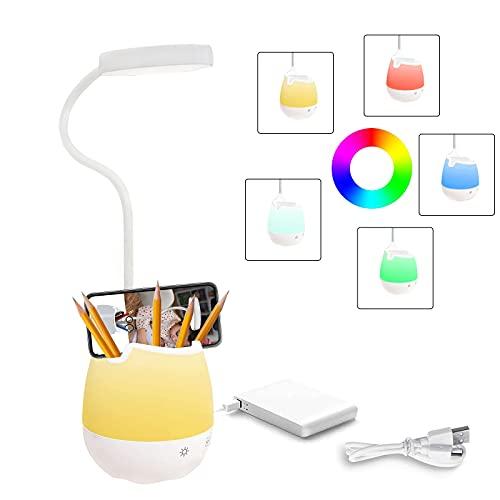 Uni-Fine Lámpara de Escritorio Multifunción 5 en 1 Control Táctil y Rotación de 360° con Espejo Portalápices Soporte para Teléfono Móvil Lamparas de Escritorio USB para Niños