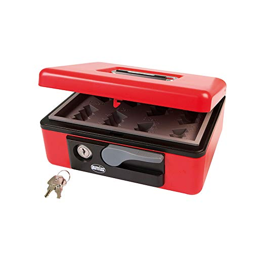 Amig - Caja de caudales Modelo 2500 | Acero | Con bandeja portamonedas | Rojo | 230 x 185 x 80 mm