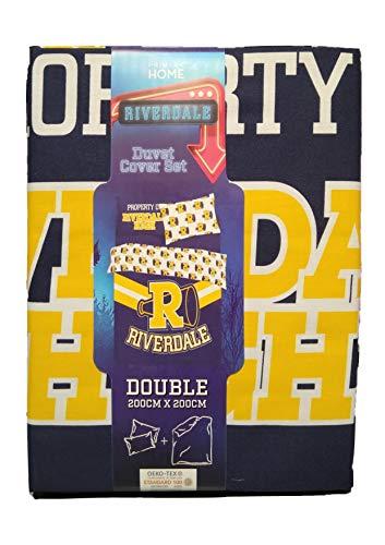 Primark Store Riverdale - Juego de Funda de edredón Reversible para Cama Individual o Doble con Lema y Funda de edredón, Azul, Amarillo, Doublé