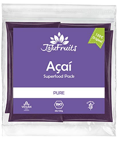 JoJu Fruits - Bio Acai Püree - PURE - 48 Smoothie Packs (Vegan, Glutenfrei, Zuckerfrei) Superfood aus Acai Beeren