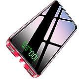【2020年最新型&PSE認証済】 モバイルバッテリー 大容量 25800mAh パススルー機能搭載 急速携帯充電器 LEDライト機能 2USBポート 最大2.1A出力 二台同時充電 LCD残量表示 スマホ充電器 旅行/出張/緊急用 防災グッズ iPhone/iPad/Android各種他対応 (レッド)