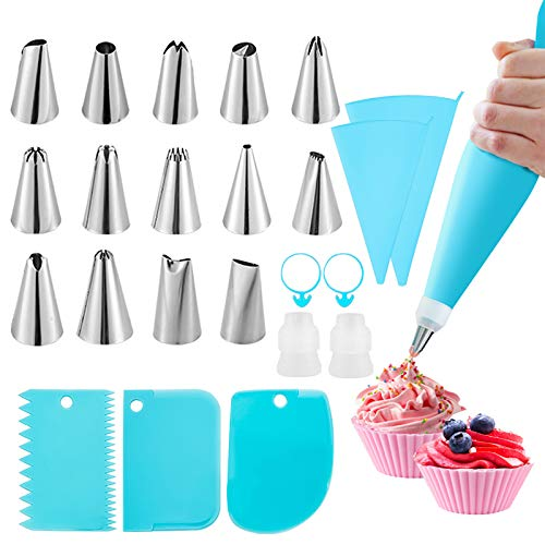 Piping Bags and Tips Set,Omini Cake Decorating Kits with 14 Stainless Steel Baking ,2 Reusable Silicone Pastry Bags,3 Icing Smoother, 2 Couplers ,2 Ties&2 Cupcakes for Baking Decorating Cake,25 Pcs