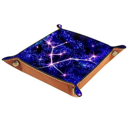 XiangHeFu Sternbild Sternenstern Valet Tray Ledertablett Leder Catchall Schlüssel Handy Münzkasten für Schlüsselgeld Nachttisch Storage Container Box Organizer
