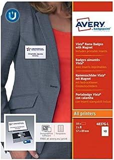 AVERY - Boite de 10 badges magnétiques type Vista gris anthracite avec aimant puissant, Format 54 x 85 mm