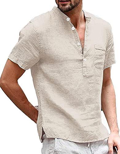 Herren Leinenhemd Henley Shirt Hemd Kurzarm Sommer Regular Fit Freizeit Hemd Fischerhemd Männer Tops, Khaki, XL