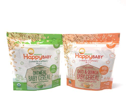 Happy Baby Clearly Crafted Cereal 2 Flavors Whole Grain Oats and Quinoa & Oatmeal With Iron in Resealable Pouch