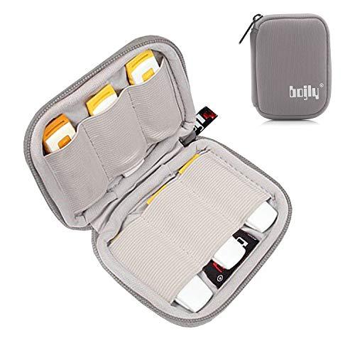 BOJLY Custodia per chiavette USB, Mini Borsa Accessori in Nylon Resistente con 6 Scomparti per Scheda SD, Chiave USB, Cavo per Auricolare e Disco Rigido Esterno, Grigio