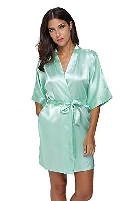 The Bund womens Pure Colour Short Kimono Robes with Oblique V-Neck Aquamarine XX-Large by