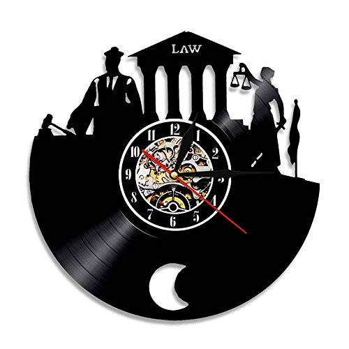 PDXGZ Vinyl-Wanduhr, Waage Der Gerechtigkeit Rechtsanwalt Büro Gerichtssaal Dekor Anwalt Uhr Anwalt Schallplatte Wanduhr Jurastudent Geschenk,B