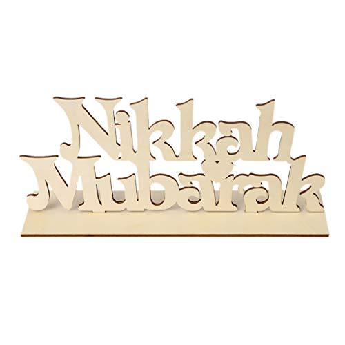 KunmniZ Nikkah Mubarak - Placa de madera para decoración del hogar, decoración de escritorio, decoración de mesa, regalo cálido
