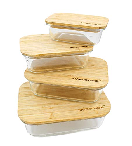 Bambooware Glass Containers with Lids | Non Plastic Glassware Set  Natural Raw Organic Wooden Bamboo Lids | Set of 4 | Reusable BPA Free | Perfect for Meal Prep Lunch Leftovers Kitchen
