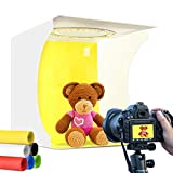 Adjustable Photo Studio Light Box Ring Light 31cm Mini Folding Photography Shooting Light Tent 3 Modes Table Top Softbox 10 Adjustable Brightness with 3200K ~ 6500K Warm White Lighting for Small Items