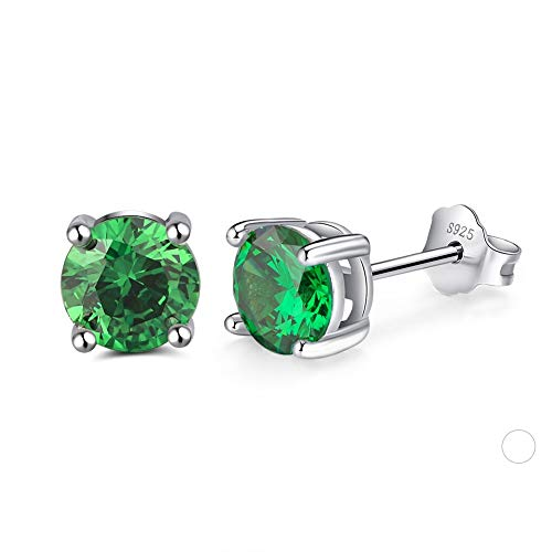 Sterling silver birthstone colour earrings (May - Emerald colour)
