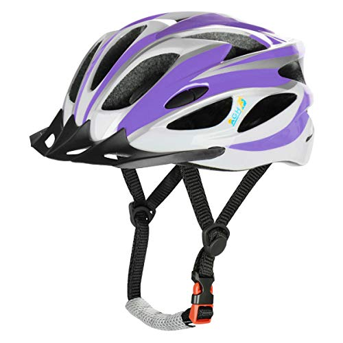AGH Adult Bike Helmet, Mountain Bike Bicycle Helmets for Women Men, Adult Helmet with Detachable Visor (Purple)