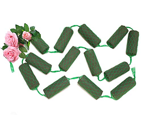 Floral Wet Foam Garland for Fresh Flowers, 14-Piece Cylinder Netting for Wedding Arch, Arbor, Green