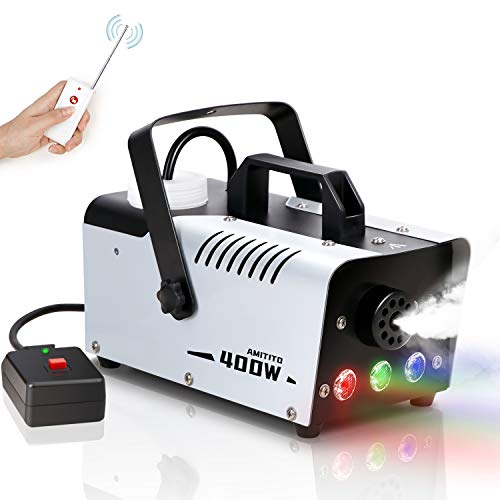 Amitito Fog Machine with Controllable Lights Disinfection LED Smoke Machine Wired and Wireless Remote Control Portable Fog Machine for Halloween, Christmas, Wedding Party, Stage Effect