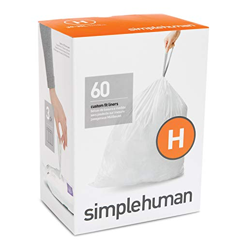 simplehuman Code H Custom Fit Drawstring Trash Bags, 60 Pack, White, 60 Count