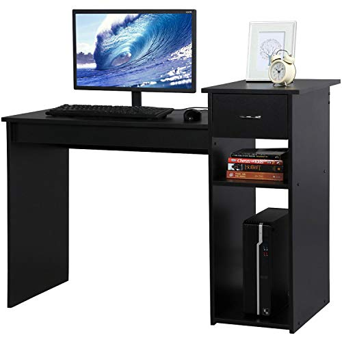 Topeakmart Modern Compact Computer Desk Study Writing Table Workstation with Drawers and Printer Shelf for Small Spaces Home Office Furniture