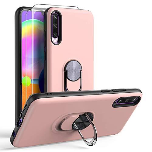 Oududianzi Funda para Samsung Galaxy A30s / A50 y 2 Protectores de Pantalla de Vidrio Templado, TPU + PC Funda para teléfono con Soporte de Anillo a Prueba de Golpes-Oro Rosa