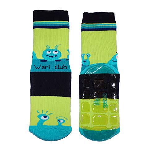 Weri Spezials Baby & Kinder Voll-ABS Voll-Frotee Anti-Rutsch Socken für Jungen in verschiedenen Motive- & Farbvariationen. (31-34, Grün UFO)