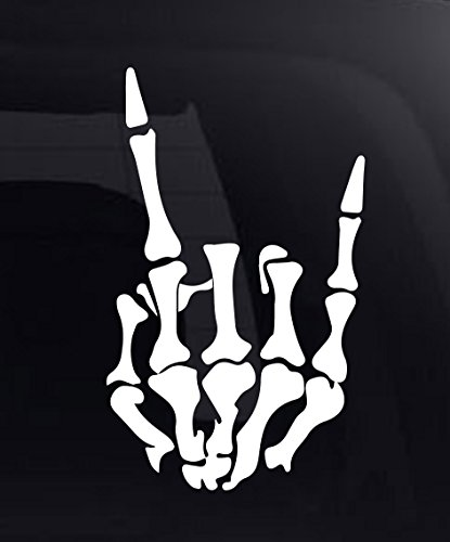 Rock On Skeleton Hand Rock and Roll Horns Up Vinyl Decal Sticker for Car SUV Truck (8.5, White)