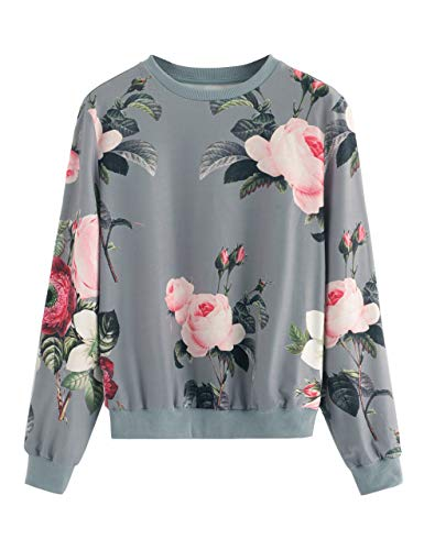 Romwe Women's Casual Floral Print Long Sleeve Pullover Tops (Large, Gray)
