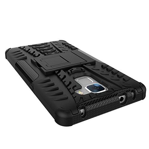 FoneExpert® Huawei Honor 7 Handy Tasche, Hülle Abdeckung Cover schutzhülle Tough Strong Rugged Shock Proof Heavy Duty Case für Huawei Honor 7 (Schwarz) - 5
