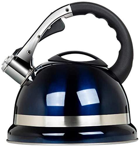 Bouilloire induction Cuisinière à induction Bouilloire à gaz 3.5L acier inoxydable portable cuisinière à gaz ménagère sifflet épaissir de grande capacité bleu WHLONG