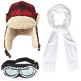 Haichen Aviator Costume Kit Gorra de Aviador con Orejeras con Hebilla, Bufanda Blanca, Gafas de Estilo piloto Vintage (Rojo)