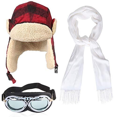 Haichen pilotenkostuum pilotenmuts met gespoorbeschermers, witte sjaal, vintage pilotenbril (Rood)