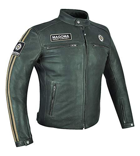 MAGOMA Brooklyn Giacca in pelle A++ con protezioni da moto ,Green,S