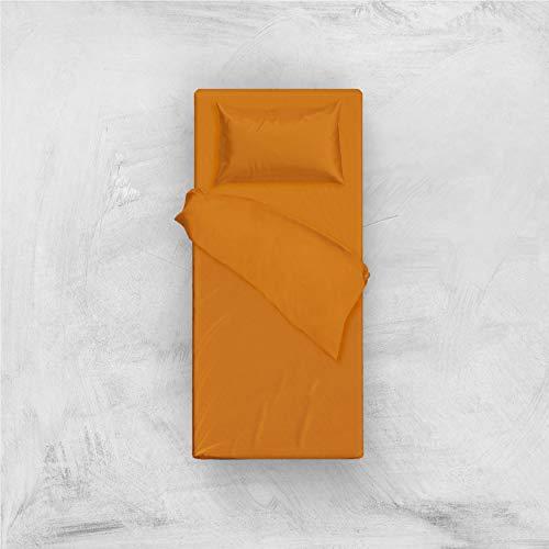 L'ANTICO ARCOLAIO Set Completo Letto Lenzuola 100% Cotone Tinta Unita (Arancione, Singolo 1P)