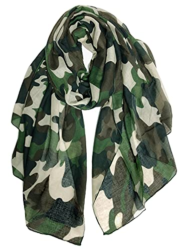 GERINLY Scarves - Lightweight Travel Scarf Camouflage Print Shawl Wrap (Army Green)