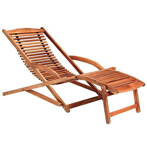 Sonnenliege Akazien Holz klappbar Kopfkissen Gartenliege Liegestuhl Garten Holzliege Deckchair Sunlounger