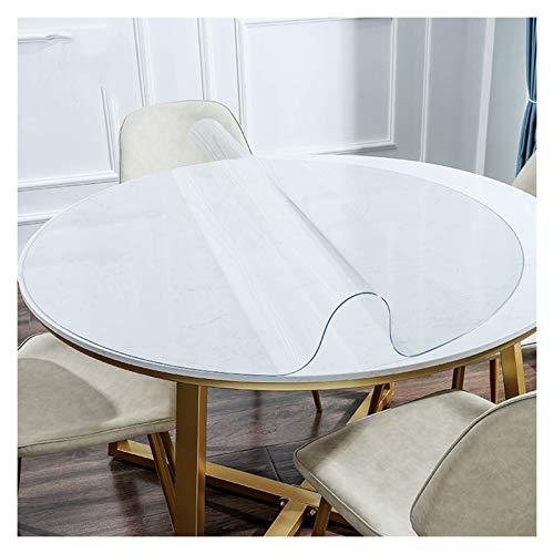 GHHZZQ Redondo PVC Manteles Impermeable Resistente al Aceite Antideslizante El plastico Mesa Paño Cubierta para Uso doméstico Oficina Transparente, Personalizable